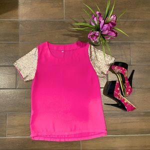 Pink Top w/Gold Sequence Sleeves (Size S) 💖